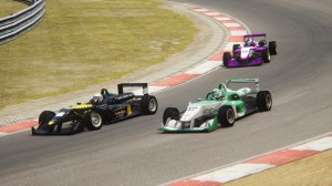 The exciting battle for fourth, in Race 2, between Holden-Jones, Bryson and McGeer.